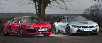 first audi bmw i8 vs first gen audi r8 can a slice of future beat old