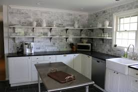 Kitchen Subway Tile Backsplash Pictures by Cabinets U0026 Drawer Beach Kitchen With Gray Subway Tile Backsplash