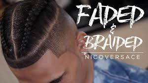 hair braided on the top but cut close on the side faded braided braided man bun samurai top knot 4khd