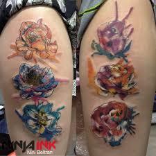Flower Garden Hanoi by Watercolor Flowers Tattoo By Nini Beltran Ninja Ink Tattoo Hanoi