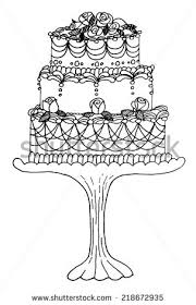 decorated cake illustration cute hand drawn stock illustration