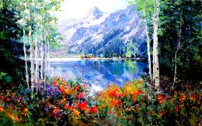 image nature spring mountains lake scenery pictorial art trees