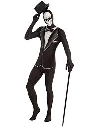 Halloween Skeleton Bodysuit Mens Second Skin Suit Halloween Fancy Dress Costume Stretchy