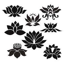 royalty free lotus flower black and white clip art vector images