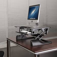 Adjustable Height Computer Desk Workstation by Brateck Sit Stand Desktop Workstation Black Dws04 01 Buy In Nz