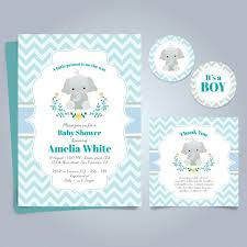 or baby shower blue card for baby shower with a elephant vector free