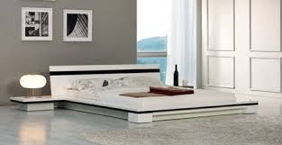 Platform Bed With Nightstands Attached Sonata Platform Bed White Lacquer