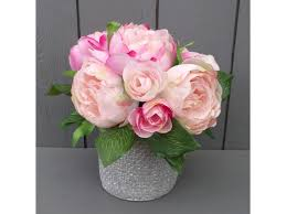 artificial peonies artificial pink peonies in silver vase permabloom