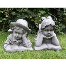 boy and with book cast garden ornament statue