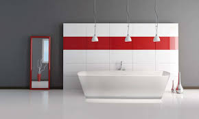 black white and red bathroom decor