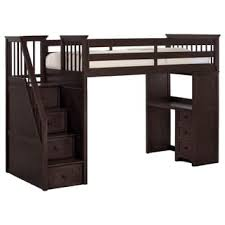 ne kids house chocolate stair loft chest end full lower bed