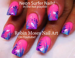 pink neon summer nail art design easy nail art for beginners diy