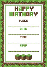 minecraft birthday invitations birthday invitation template minecraft invitations online
