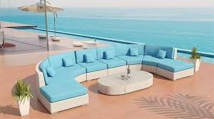Sectional Sofa Patio Furniture Set - White wicker outdoor furniture