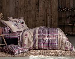 housse de couette montagne chalet linge de lit chalet et flocons becquet
