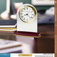 Howard Miller Chiming Mantel Clock Rosewood Based Glass Tabletop Alarm Quartz Clock White Dial