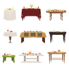 types of dining tables flat vector set of different types of dining tables with served food