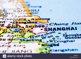 Map Of Shanghai Close Up Of Shanghai On Map China Stock Photo Royalty Free Image