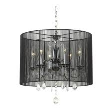 crystal chandelier with black shade chrome 3 light overstock and