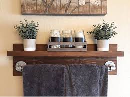 rustic industrial bath towel rack bathroom shelf rustic home
