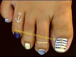 toenail art designs step by step instruction anchors u0026 stripes