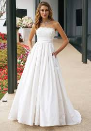 Simple Wedding Dresses Simple White Strapless Lace Wedding Dress With A Line Silhouette