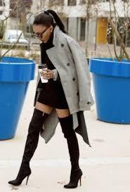 shoes ponytail jacket high heels heels high boots grey coat