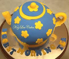 novelty cakes teapot cake blue with yellow flowers kez lea cakes