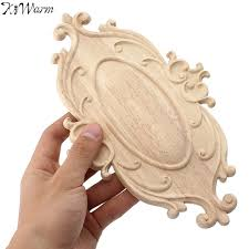 kiwarm vintage wood carved applique onlay woodcarving decal home