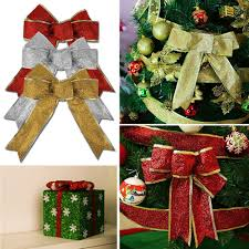 large christmas glitter bows tree present decoration silver gold