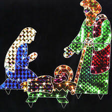 Outdoor Lighted Nativity Set - 3 pc set outdoor lighted nativity scene display holy family yard