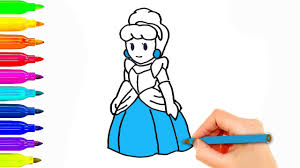 how to draw disney princess cinderella coloring pages for kids
