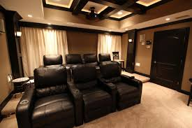 home theater risers theater with coffered ceiling