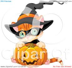cartoon of a cute orange halloween kitten wearing a witch hat and