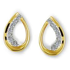 real gold earrings bling pear shape fancy earrings made with real gold and