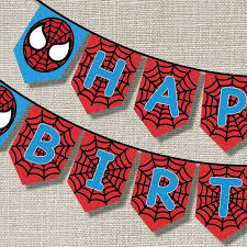 spiderman happy birthday banner inspired pop annajayneprints