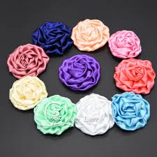 flowers free shipping 3 satin rosettes diy flowers satin silk fabric flower free