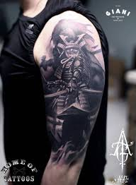 latest black ink samurai tattoo on man left half sleeve