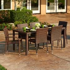 Overstock Patio Chairs The Hom Toria 7 Outdoor Wicker Dining Set Free Shipping