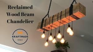 wood beam light fixture reclaimed wood beam chandelier kraftmade youtube
