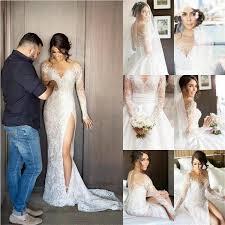 2017 new full lace split wedding dresses with detachable satin
