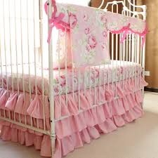 Bedding Set Crib Vintage Shabby Chic Roses Floral Pink Baby Bedding Set