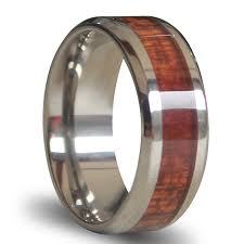 wood engagement rings will titanium ring inlaid with wood 8mm wide comfort fit