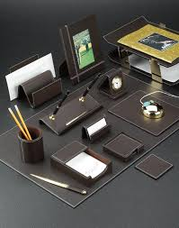 Brown Leather Desk Accessories Brown Leather Desk Pad And Accessories Set