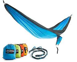 double parachute camping hammock with free tree straps by