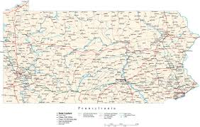 Pa County Map Pennsylvania State Map In Fit Together Style To Match Other States