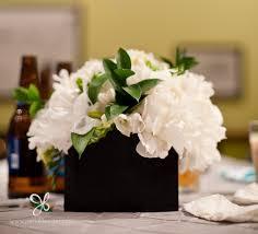 Black Square Vases White Peonies Brides Bouquet For Sarahs U0027 Wedding