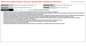 Childcare Resume Examples by Developmental Specialist Cover Letter