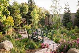 outdoors natural backyard with white green bridge and green