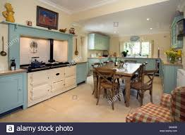 contemporary farmhouse style contemporary farmhouse style kitchen with aga cooker stock photo